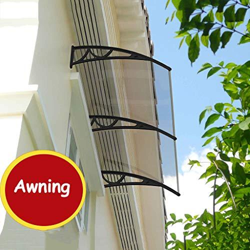 Transparante luifel voor de tuin, luifel, ramen, stil, veranda, voordak, van staal, zwart, kunststof, ter bescherming tegen zon, regen en sneeuw.