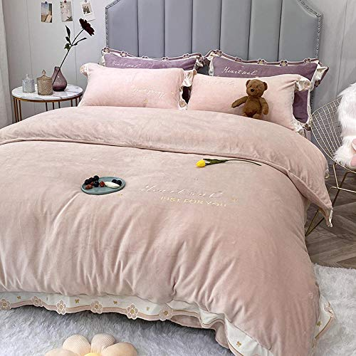 Shinon teddy bear bedding single blue,Winter plush thick quilt cover double-sided velvet European court style plus velvet warmth sheet duvet cover-H_2.0m bed (4 pieces)