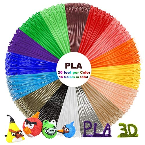 dikale 3D Pen PLA Filament Refills Total16 Colors, 320 Feet with 100 Stencils EBooks, 3D Printing Pen 1.75mm PLA Filament