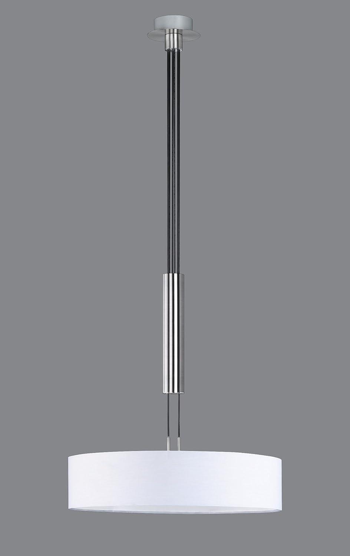 Trio Leuchten Deckenleuchte in nickel matt, Stoffschirm weiß 603900301 Jojo-pendel D. 5cm Weiß
