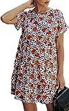 Angashion Women's Summer Tunic Dress Round Neck Short Sleeve Ruffle Casual Loose Flowy Babydoll Swing Mini Shift Dresses 088Black XL