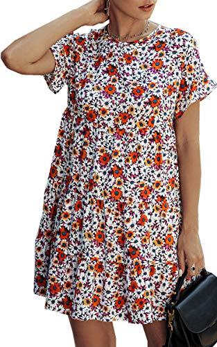 Angashion Women's Summer Tunic Dress Round Neck Short Sleeve Ruffle Casual Loose Flowy Babydoll Swing Mini Shift Dresses 088Black S (Apparel)