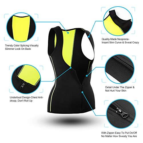 Gotoly Women Waist Trainer Corset Neoprene Sweat Sauna Vest Zipper Weight Loss Tummy Control Body Shaper (Black, Large)