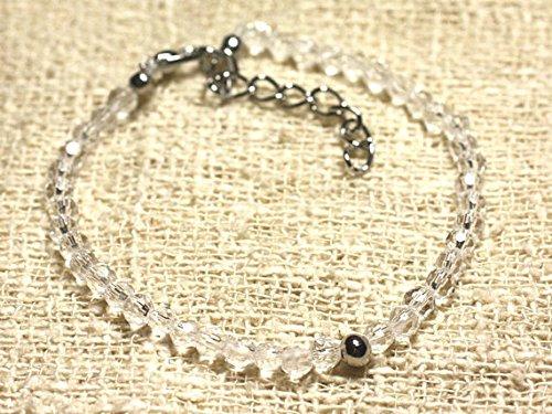 LOVEKUSH Pulsera de plata de ley 925 Galaxy Jewelry de plata de ley 925 con cristal blanco de cuarzo Rondelle, facetada 7 pulgadas para hombres, mujeres, gf, bf y adultos.