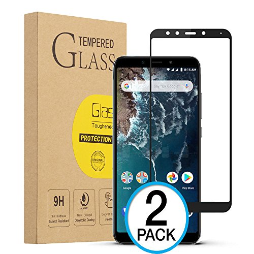 XvDsu Cristal Templado Xiaomi Mi A2, [2 Pack][Cobertura Total] Protector de Pantalla 9H Dureza de Vidrio Templado Película Protectora de teléfono móvil Resistente a los arañazos(Negro)