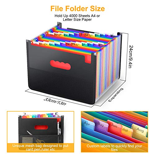 26 Pockets Accordian File Organizer,Expanding Filing Box with Mesh Bag,Expandable A4/Letter Size Folder, Accordion Document Organizer,Portable Paper/Bill/Receipt Folders with 3 A-Z Alphabet Blank Tabs Photo #6
