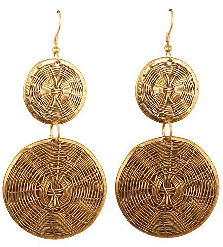 Touchstone Indian Bollywood Desire - Pendientes de diseño de alambre concéntricos hechos a mano en tonos dorados antiguos para mujer