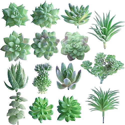aoory 15 Stück Künstliche Sukkulenten Faux Blume Sukkulenten Mini Picks Bulk Vorbauten Für Zuhause Indoor Fairy Garden Dekorationen