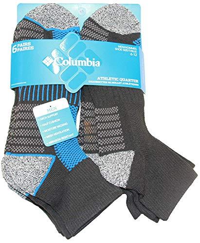 Columbia Mesh Top Arch Support Low Cut Socks 6 Pair, M10-13, Black/Blue, 10-13 (Shoe Size 6-12 US Men's)