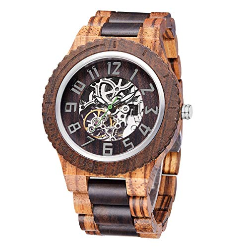 TJW Wooden Watches for Mens Automatic Mechanical Watch Lightweight Timepieces Wood Watch for Men (Zebra+Black Sandalwood)