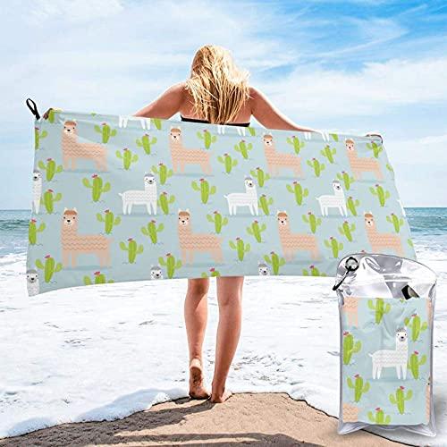 Toallas de Playa de Antiarena de Microfibra para Hombre Mujer, 130x80cm, Toallas Baño Calidad Gigante Secado Rapido para Piscina, Manta Playa, Toalla Yoga Deporte Gimnasio,Teesobunny Cactus Alpacas,