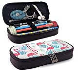 XCNGG Estuche para lápices neceser Flamingo Pattern in Watercolor Style PU Leather Pencil Case School Office Use Zipper Stationery Organizer