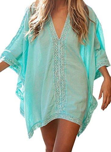 Walant Damen Strandkleid Einheit Größe Kleidung Strand Hemdkleid V-Ausschnitt Rock Grün onesize