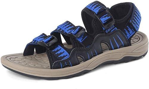 Tanxianlu Sandales pour Hommes Sandales d'été Pantoufles Plates,Noir Bleu,7
