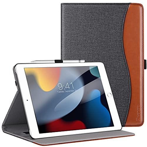 ZtotopHülles Hülle für iPad 9 Generation/8 Generation/7 Generation, Premium Leder Mehrfachwinkel Schutzhülle, Kartensteckplatz, für iPad 10.2 Zoll 2021/2020/2019, Denim Schwarz