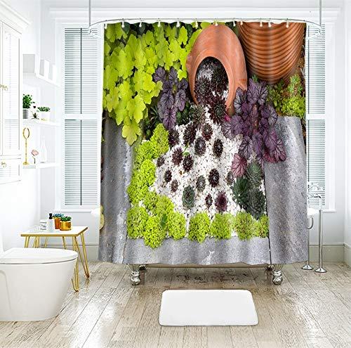 IJNOKM 3D Topfpflanzen In Verschiedenen Mustern Duschvorhang, Polyester Anti Mold Wasserdichter Badezimmervorhang, Maschinenwaschbarer Badevorhang Mit Haken (71 × 71 Zoll)