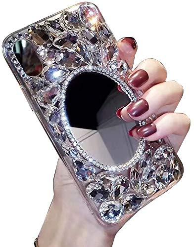 LCHDA Diamant Hülle für Samsung Galaxy S20 6.2 Zoll,Glitzer Strasssteinen Bling Glänzend Durchsichtig Kristall Steine Klar Silikon Harte Schale Schutzhülle für Samsung Galaxy S20 6.2 Zoll-Spiegel