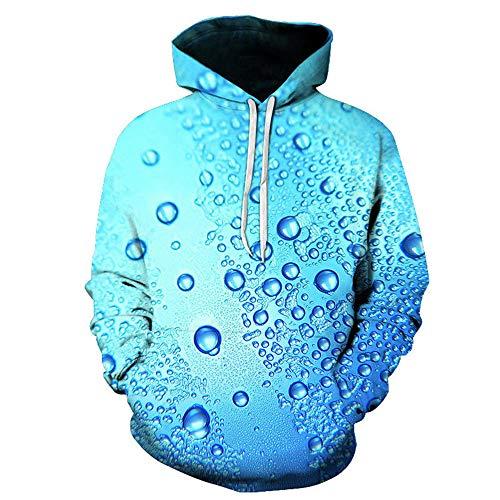 BMSD Sudaderas con Capucha 3D Estampado de Agua de Lluvia Sudaderas Casuales para Hombres Club Unisex Street Teenager Pullover, 3X-Large