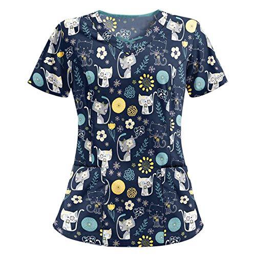 Damen Kurzärmeliges Pflegeoberteil V-Ausschnitt Tiermotiv Drucken Medizinische Kurzarm Berufsbekleidung Lässiges Tops T-Shirts Tuniken Blusen (M, XXL)