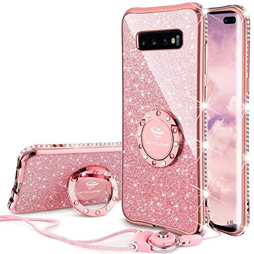 OCYCLONE Cute Galaxy S10 Plus Case, Glitter Luxury Bling Diamond Rhinestone Bumper with Ring Grip Kickstand Protective Thin Girly Pink Samsung Galaxy S10+ Plus Case for Women Girl - Rose Gold Pink
