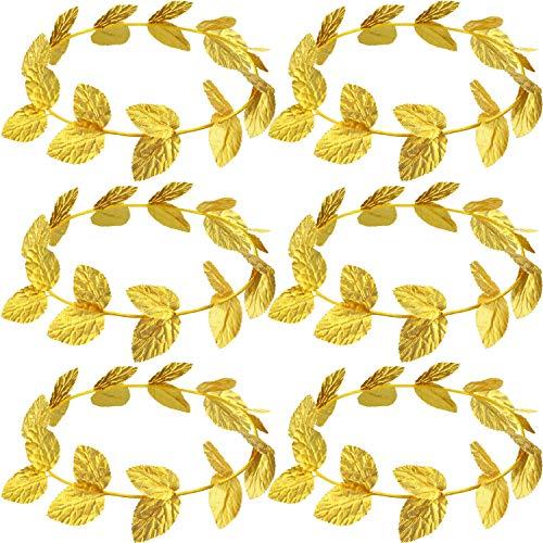 Roman Laurel, Roman Head Wreath Leaf Crown Headdress Roman Leaf Headband Toga Headwear, Gold (Knitted Fabric, 6 Pieces)