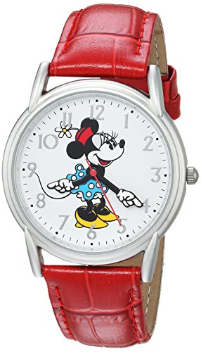 DISNEY Women's Minnie Mouse Analog-Quartz Watch with Leather-Synthetic Strap, red, 18 (Model: WDS000409)