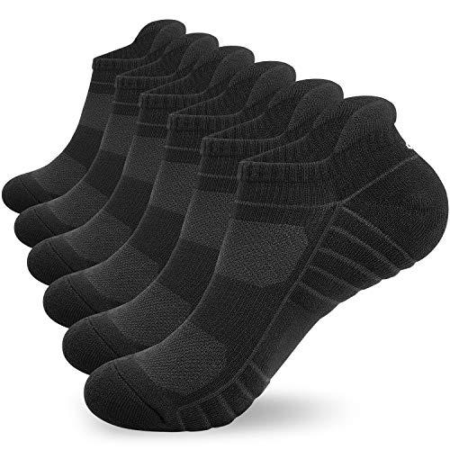 Lapulas Socken Herren Damen 6 Paar Sneaker Scoken Sportsocken Baumwolle laufsocken mit Frotteesohle Freizeit Atmungsaktiv Antirutsch 35-50 bequemere verbesserte kurze Socken (Schwarz, 39-42)