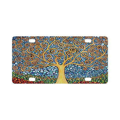 Trees of Life License Plate Best Design Awesome Baum des Lebens Aluminium Auto Metall Nummernschild für Auto Vier Löcher 30,5 x 15,2 cm