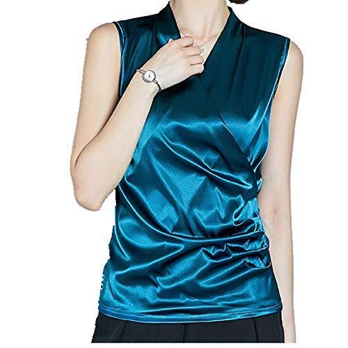 Nuova maglietta senza maniche da donna in raso liscio Blu XXXL