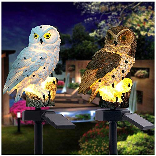 2PCS LED Garden Lights Solar Night Lights Owl Shape Solar-Powered Lawn Lamp