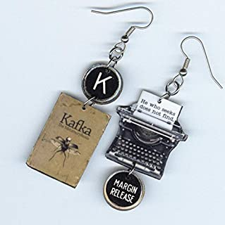Book Cover Earrings - The Metamorphosis Franz KAFKA - Typewriter quote jewelry - Literary readers writer author librarian gift - Quote Philosophy