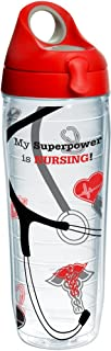 Tervis 1265150 My Superpower Is Nursing Insulated Tumbler with Wrap and Red with Gray Lid, 24oz Water Bottle, Clear