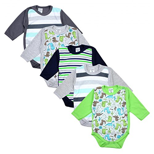 TupTam TupTam Baby Unisex Langarm Wickelbody im 5er Set, Farbe: Junge 3, Größe: 68