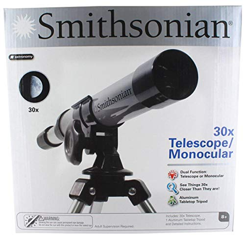 Smithsonian STEM 30x Telescope with Aluminum Tabletop Tripod