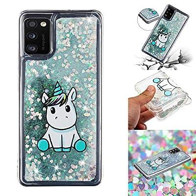 HopMore Glitter Funda para Samsung Galaxy A41 Purpurina Silicona Cover 3D Liquido Brillante Dibujos Transparente Carcasa Resistente Antigolpes Case Protección - Unicornio
