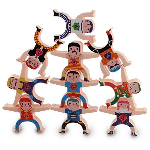 Stapelmännchen Hölzerner Herkules 16 Stücke Balance Stapeln hoher Bausteine Stapelspielzeug Holzspielzeug für Kinder