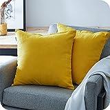 Topfinel Juego 2 Fundas Cojines Hogar Algodón Lino Decorativa Chenilla Almohadas Fundas de Color sólido para Sala de Estar sofás Amarillo 60x60cm