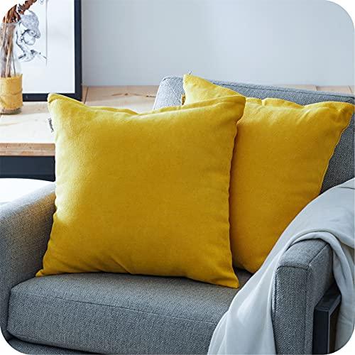 Topfinel Juego 2 Fundas Cojines Hogar Algodón Lino Decorativa Chenilla Almohadas Fundas de Color sólido para Sala de Estar sofás Amarillo 45x45cm
