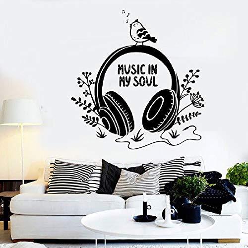 JXFM Vinyl koptelefoon, stickers, muziek in mijn Anima Citation, vogels, bloemen, stickers voor slaapkamer, school, Materna muziek, Aula Domestica Decoratie 57 x 59 cm