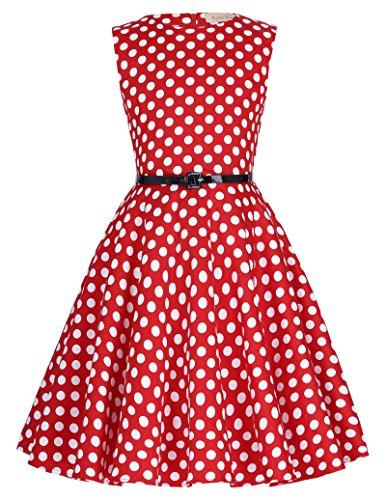 Niña Vestidos Vintage Retro Clásico Rojo con Puntos Blancos 7 Años KK250-11