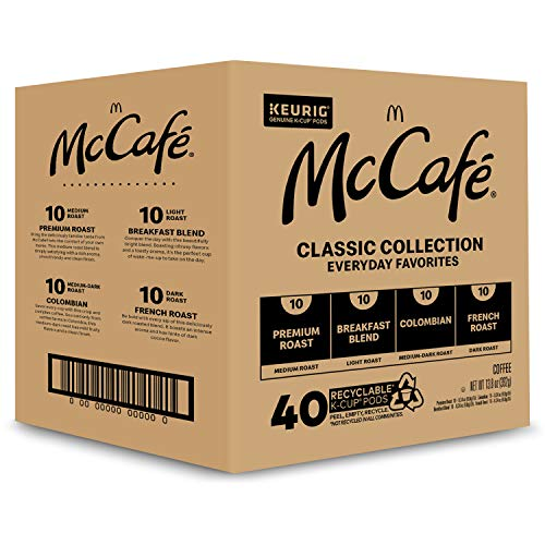 McCafé Classic Collection, Single Serve Coffee Keurig K-Cup Pods, Classic Collection Variety Pack, 40 Count