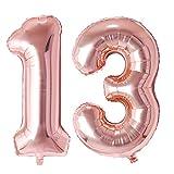Ponmoo Foil Globo Número 13 31 Oro Rosa, Gigante Numeros 0 1 2 3 4 5 6 7 8 9 10-19 20-29 30 40 50 60 70 80 90 100, Grande Globos para La Boda Aniversario, Globo de Cumpleaños Fiesta Decoración