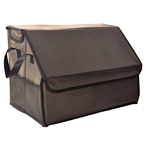 Crusar Auto Car SUV Trunk Storage Collapsible Folding Cargo Organizer Multipurpose Foldable Cargo Storage Container Box Bag Case with Cover, Great for Travel Vocation Trip Camping (Khaki)