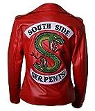 Jughead Riverdale Southside Serpents V2 Femmes Veste Motard en Cuir (M) Red