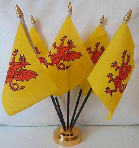 Comté de Somerset 5 Drapeau de Table pour centre de Table avec Base dorée