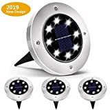 Luces Solares Led Exterior,Tomshine 4 Pack 12 LEDs Luces Solares para Jard/ín,IP68 Impermeable,Focos Solares LED para Exterior C/ésped Pasarela Blanco C/álido Terraza Jard/ín