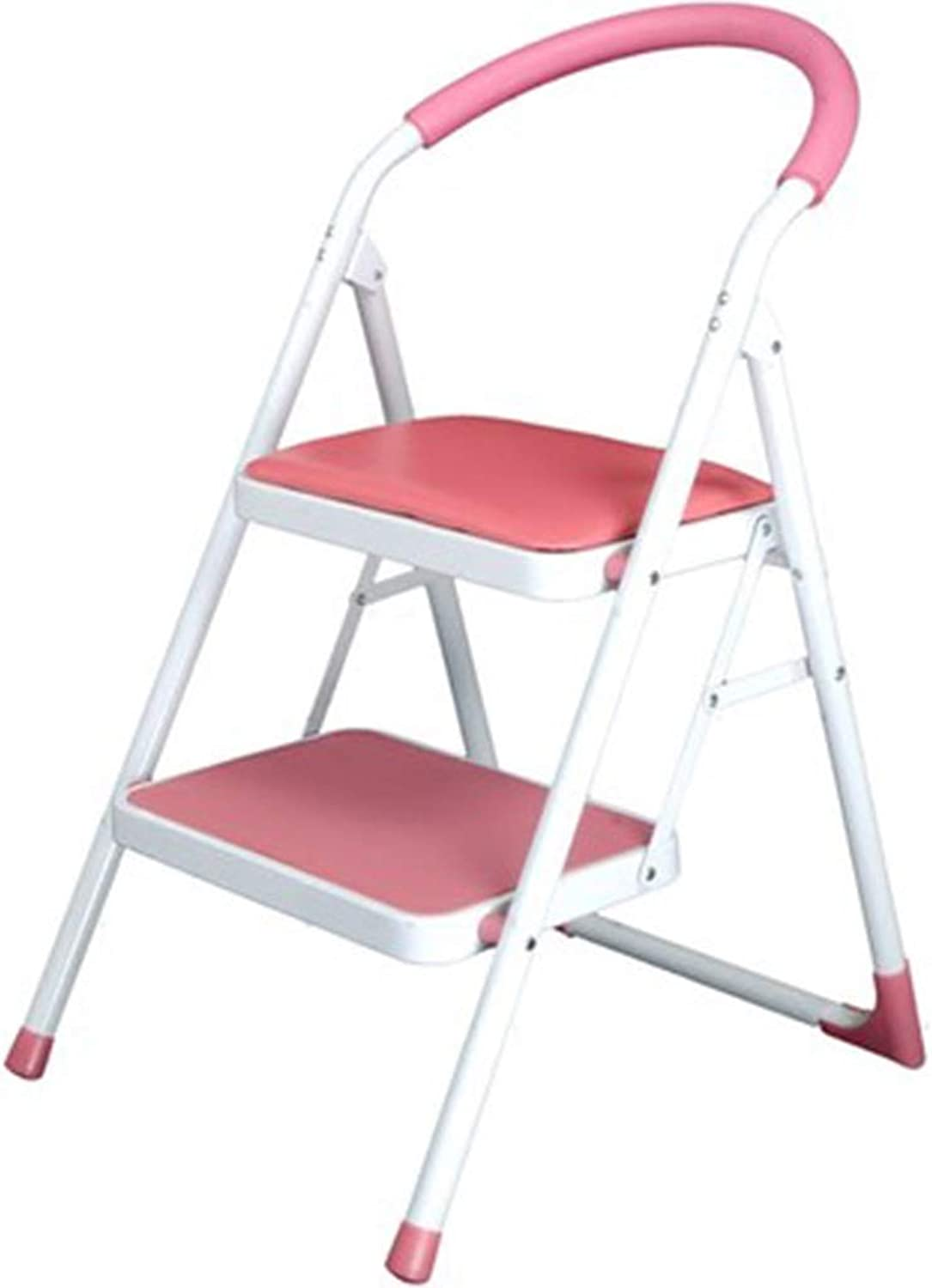 Stools Ladder Stool Two-Tier Household Ladder Two-Step Ladder Mobile Stair Chair Herringbone Ladder Climbing Ladder Multi-Function Ladder (color   Pink, Size   47  52  82cm)