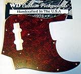 WD Custom Pickguard For Fender Vintage 1970's-1980's 20 Fret Jazz Bass #05R Tortoise Shell Red