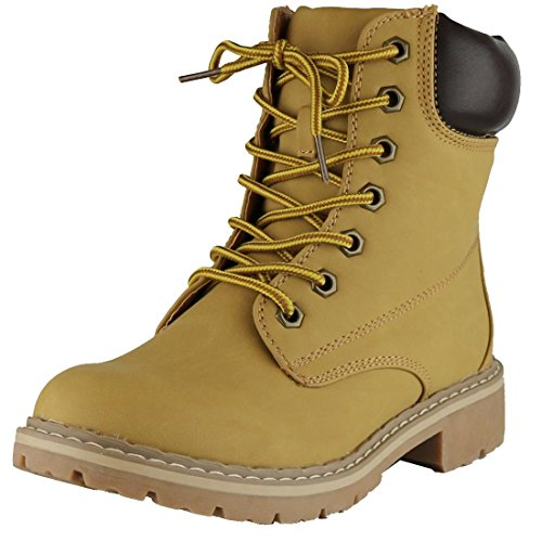 Cambridge Select Women's Work Combat Military Lace-Up Lug Sole Boot,10 M US,Wheat