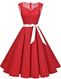 Gardenwed Women Vintage 1950s Retro Rockabilly Tea Dress Prom Swing Cocktail Party Dress Red Small White Dot S
